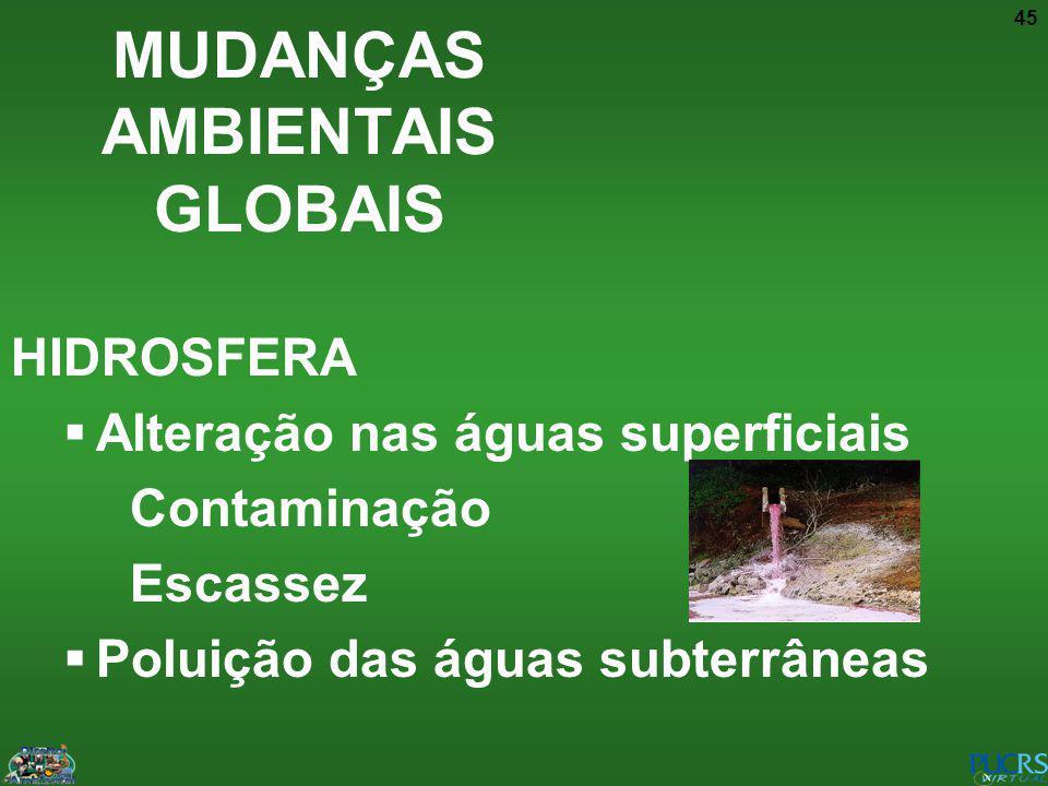 45 HIDROSFERA Alteração nas águas superficiais Contaminação Escassez Poluição das águas subterrâneas MUDANÇAS AMBIENTAIS GLOBAIS