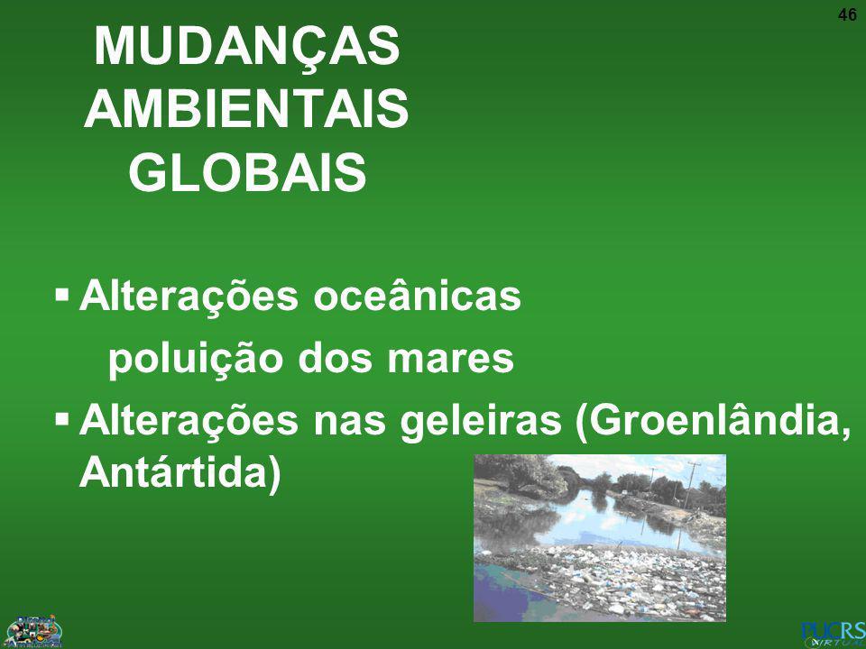 46 Alterações oceânicas poluição dos mares Alterações nas geleiras (Groenlândia, Antártida) MUDANÇAS AMBIENTAIS GLOBAIS