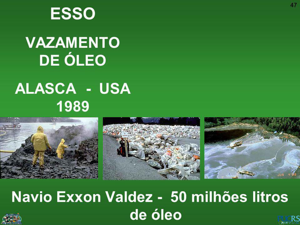 47 ESSO VAZAMENTO DE ÓLEO ALASCA - USA 1989 Navio Exxon Valdez - 50 milhões litros de óleo