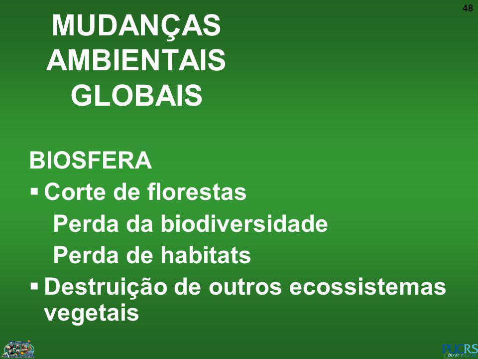 48 BIOSFERA Corte de florestas Perda da biodiversidade Perda de habitats Destruição de outros ecossistemas vegetais MUDANÇAS AMBIENTAIS GLOBAIS