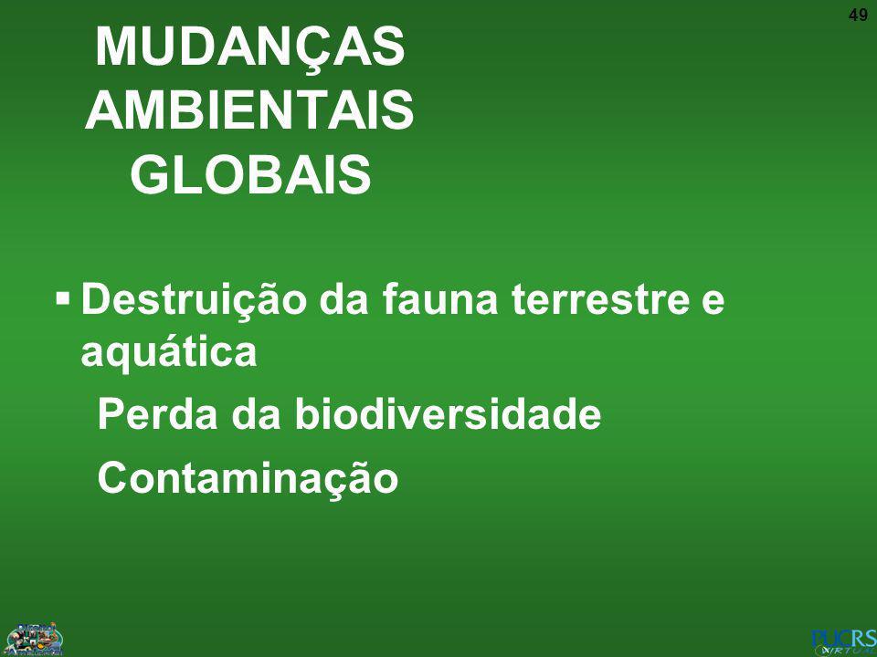 49 Destruição da fauna terrestre e aquática Perda da biodiversidade Contaminação MUDANÇAS AMBIENTAIS GLOBAIS