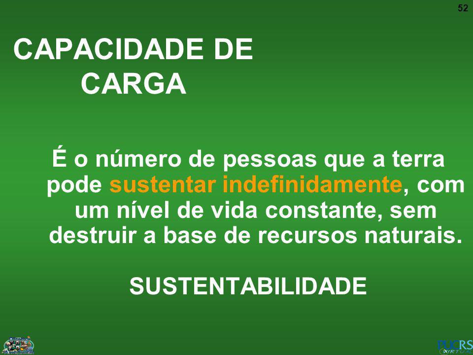 52 CAPACIDADE DE CARGA É o número de pessoas que a terra pode sustentar indefinidamente, com um nível de vida constante, sem destruir a base de recurs