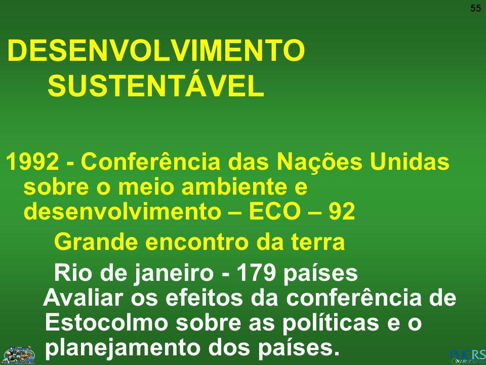 55 1992 - Conferência das Nações Unidas sobre o meio ambiente e desenvolvimento – ECO – 92 Grande encontro da terra Rio de janeiro - 179 países Avalia