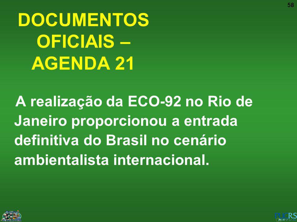 58 DOCUMENTOS OFICIAIS – AGENDA 21 A realização da ECO-92 no Rio de Janeiro proporcionou a entrada definitiva do Brasil no cenário ambientalista inter