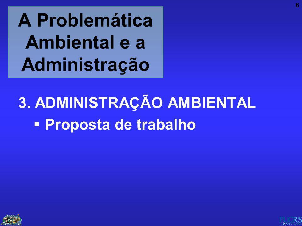 6 A Problemática Ambiental e a Administração 3. ADMINISTRAÇÃO AMBIENTAL Proposta de trabalho