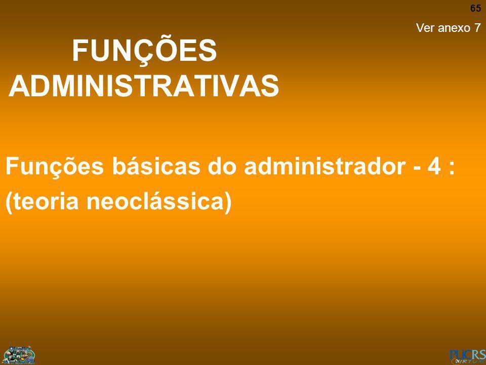 65 FUNÇÕES ADMINISTRATIVAS Funções básicas do administrador - 4 : (teoria neoclássica) Ver anexo 7