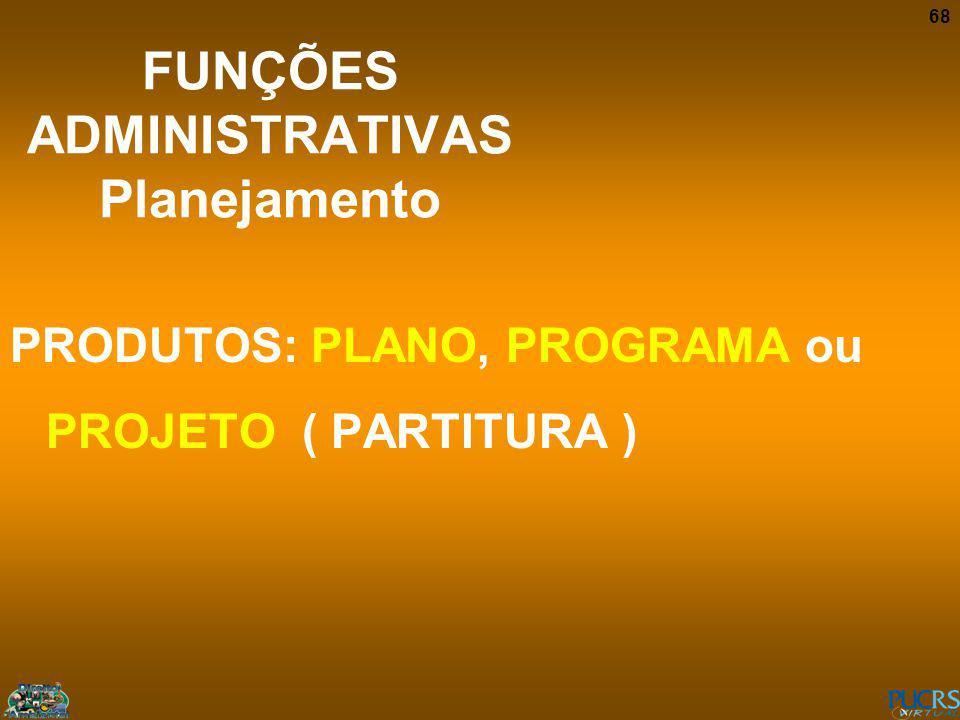 68 FUNÇÕES ADMINISTRATIVAS Planejamento PRODUTOS: PLANO, PROGRAMA ou PROJETO ( PARTITURA )