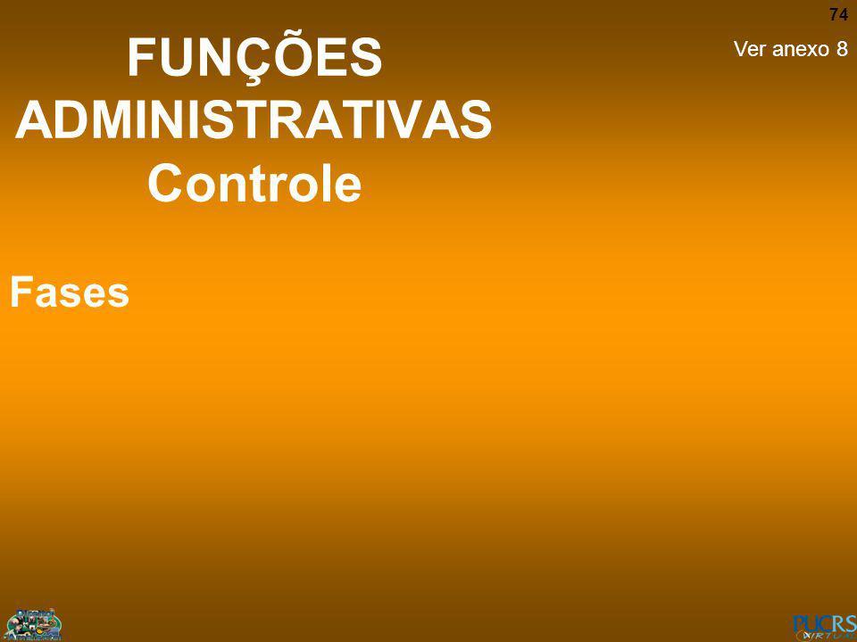 74 FUNÇÕES ADMINISTRATIVAS Controle Fases Ver anexo 8