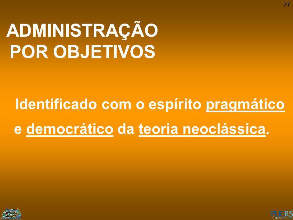 77 ADMINISTRAÇÃO POR OBJETIVOS Identificado com o espírito pragmático e democrático da teoria neoclássica.