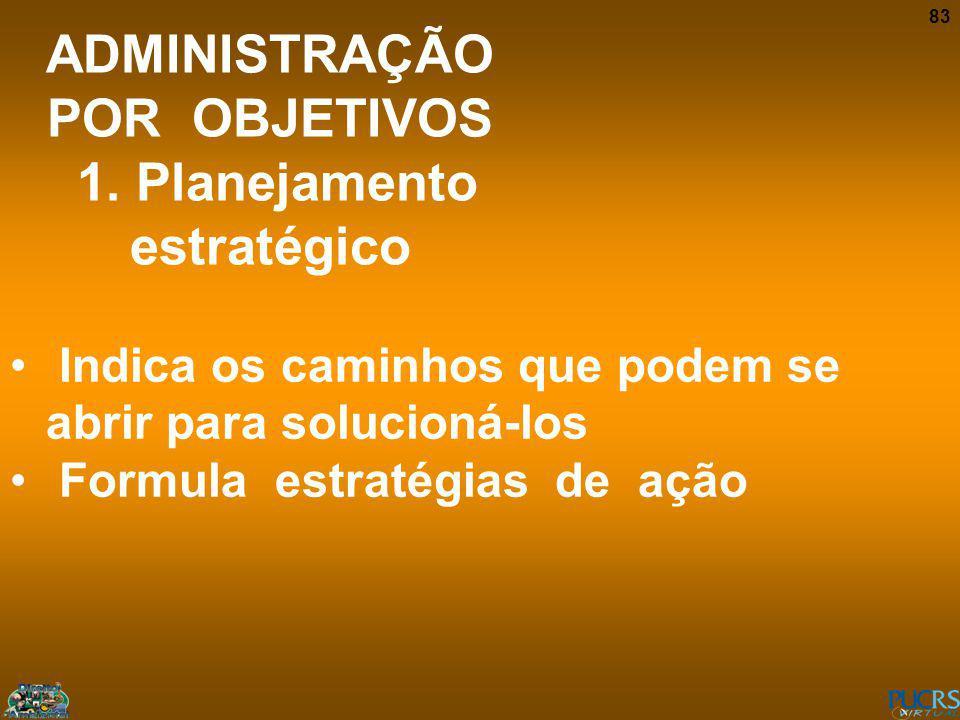 83 ADMINISTRAÇÃO POR OBJETIVOS 1. Planejamento estratégico Indica os caminhos que podem se abrir para solucioná-los Formula estratégias de ação