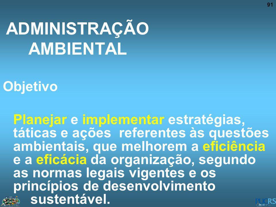 91 ADMINISTRAÇÃO AMBIENTAL Objetivo Planejar e implementar estratégias, táticas e ações referentes às questões ambientais, que melhorem a eficiência e