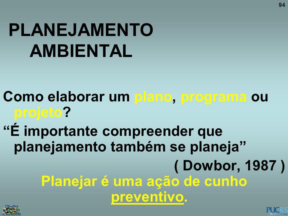 94 PLANEJAMENTO AMBIENTAL Como elaborar um plano, programa ou projeto? É importante compreender que planejamento também se planeja ( Dowbor, 1987 ) Pl