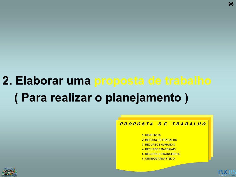 96 2. Elaborar uma proposta de trabalho ( Para realizar o planejamento ) P R O P O S T A D E T R A B A L H O 1. OBJETIVOS 2. MÉTODO DE TRABALHO 3. REC