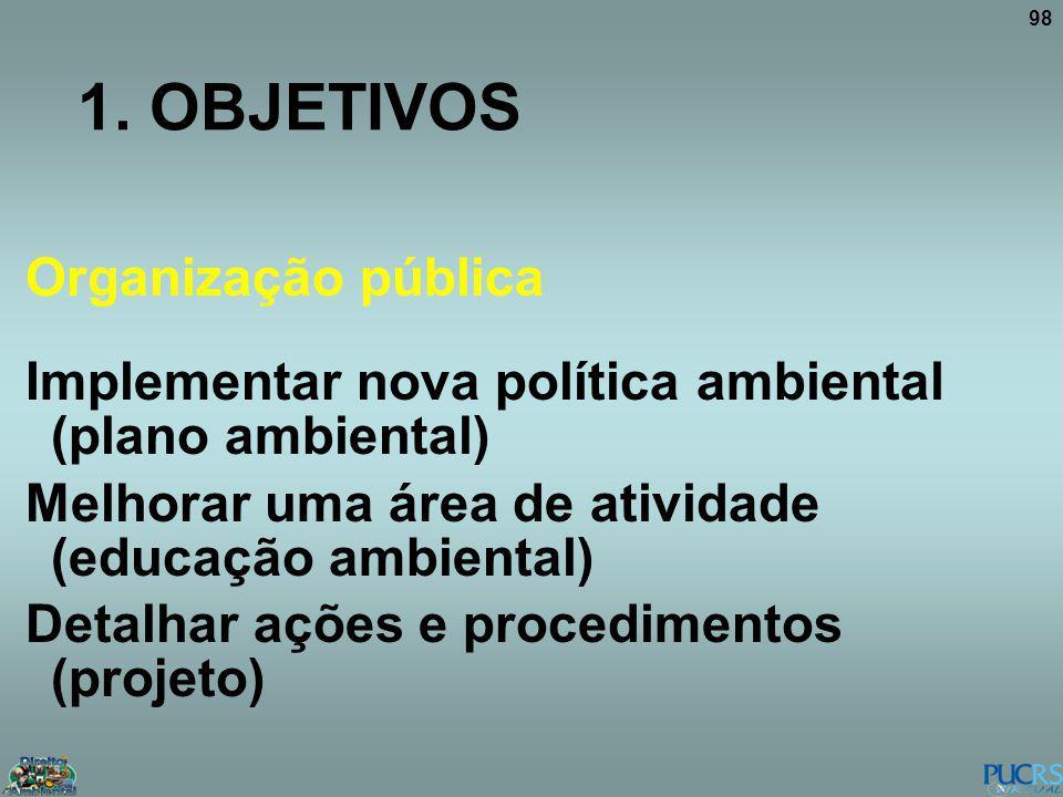 98 1. OBJETIVOS Organização pública Implementar nova política ambiental (plano ambiental) Melhorar uma área de atividade (educação ambiental) Detalhar