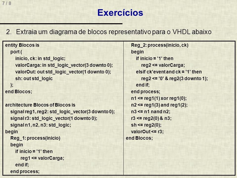 7 / 8 Exercícios 2.Extraia um diagrama de blocos representativo para o VHDL abaixo entity Blocos is port ( inicio, ck: in std_logic; valorCarga: in st