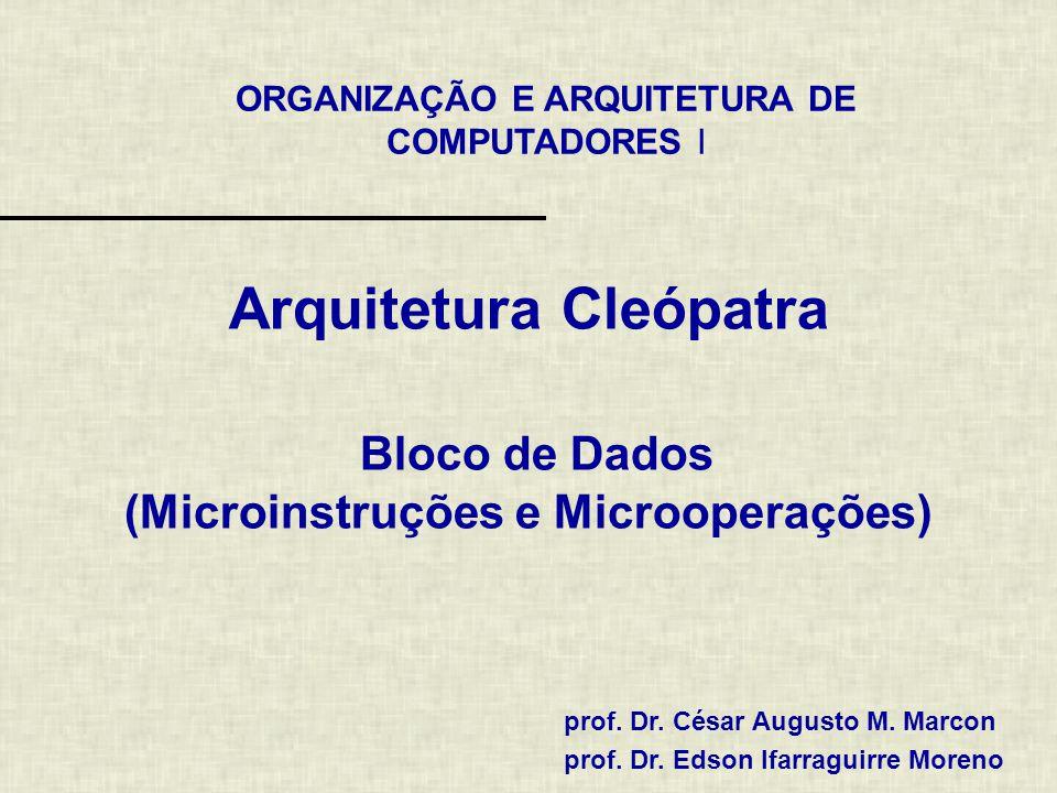 ORGANIZAÇÃO E ARQUITETURA DE COMPUTADORES I prof. Dr. César Augusto M. Marcon prof. Dr. Edson Ifarraguirre Moreno Arquitetura Cleópatra Bloco de Dados