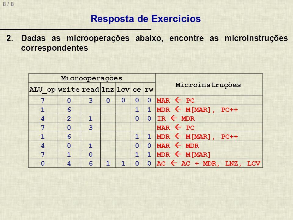 8 / 8 Resposta de Exercícios Microoperações Microinstruções ALU_opwritereadlnzlcvcerw 7030000MAR PC 1611MDR M[MAR], PC++ 42100IR MDR 703MAR PC 1611MDR