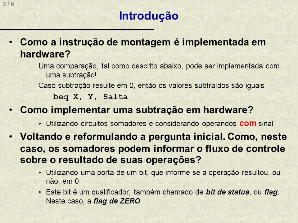 3 / 9 Introdução Como a instrução de montagem é implementada em hardware.