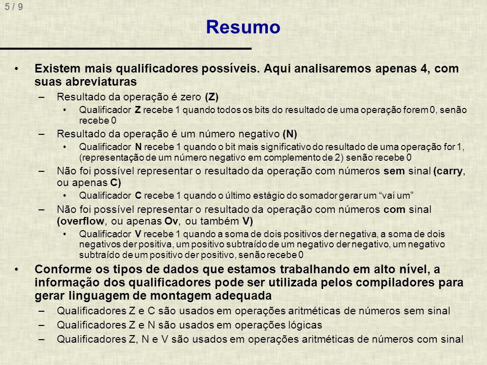 5 / 9 Resumo Existem mais qualificadores possíveis.