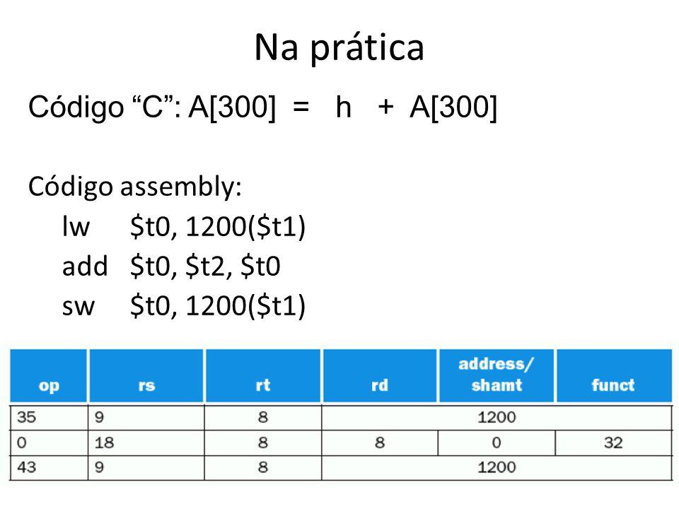 Na prática Código C: A[300] = h + A[300] Código assembly: lw$t0, 1200($t1) add$t0, $t2, $t0 sw$t0, 1200($t1)
