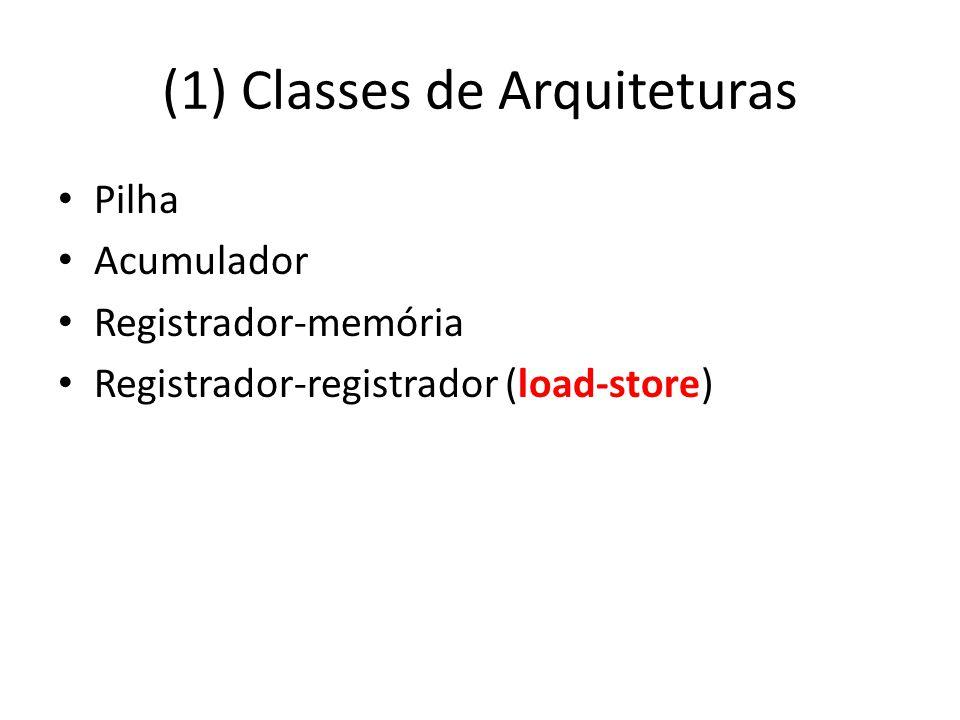 (1) Classes de Arquiteturas Pilha Acumulador Registrador-memória Registrador-registrador (load-store)