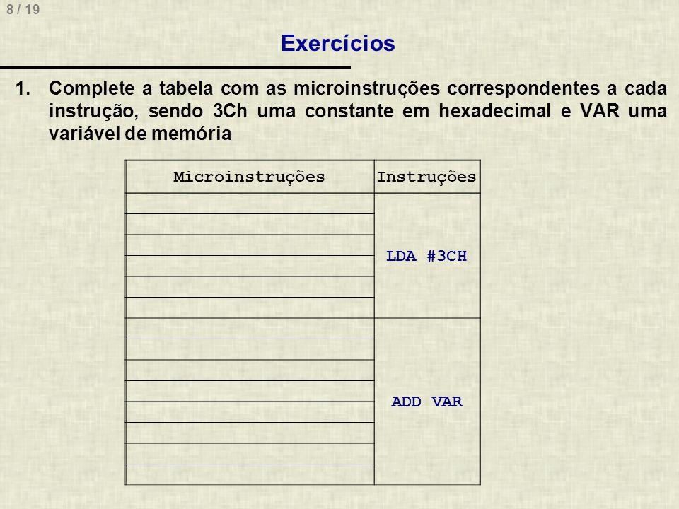 8 / 19 Exercícios MicroinstruçõesInstruções LDA #3CH ADD VAR 1.Complete a tabela com as microinstruções correspondentes a cada instrução, sendo 3Ch um