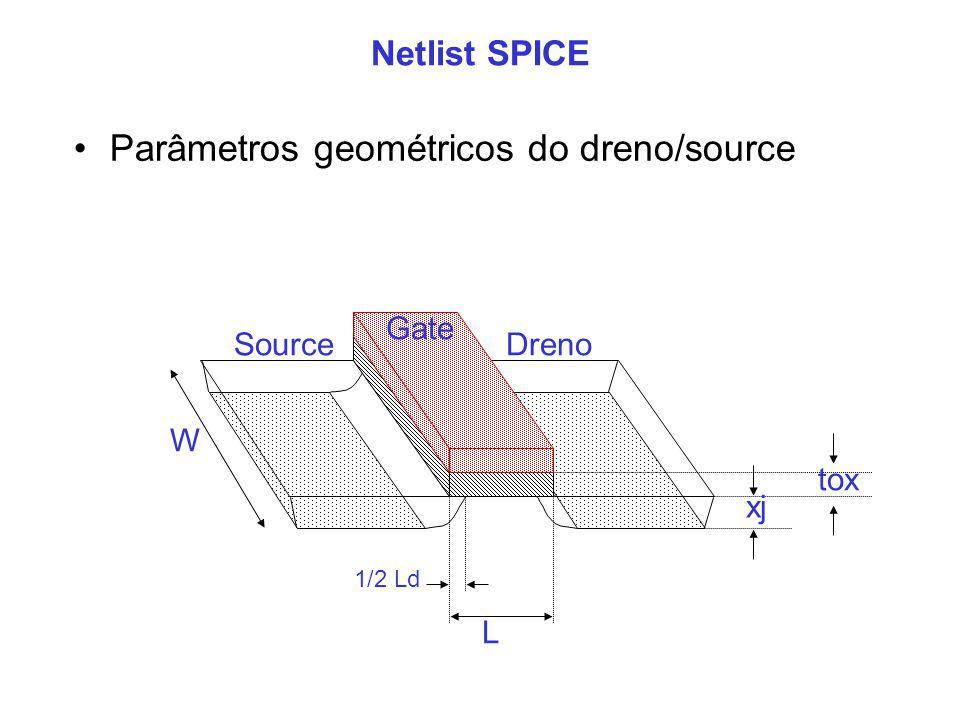 Netlist SPICE Gate SourceDreno W L 1/2 Ld xj tox Parâmetros geométricos do dreno/source