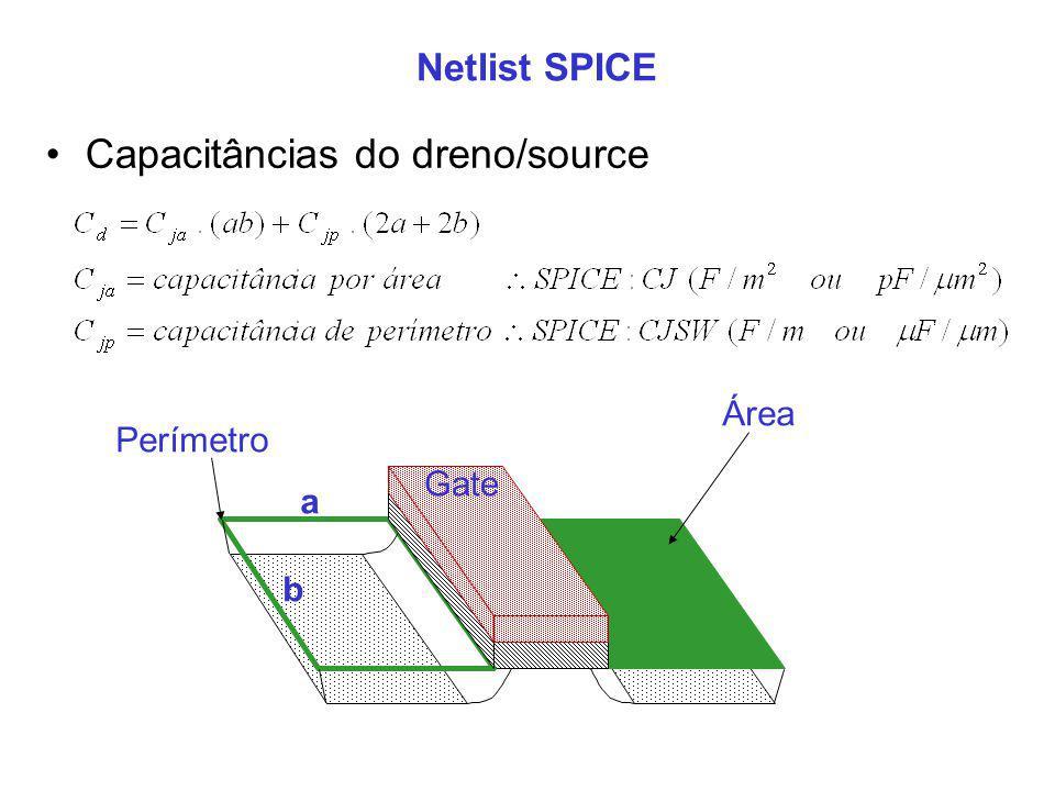 Netlist SPICE Gate Perímetro Área Capacitâncias do dreno/source a b