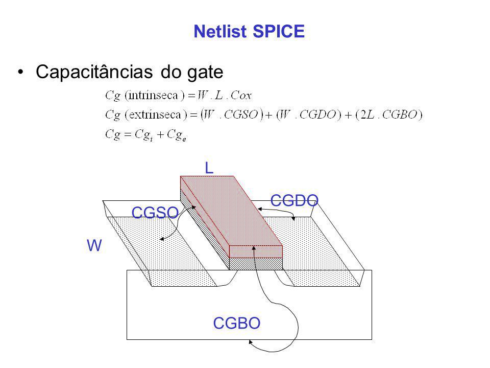 Netlist SPICE L W CGSO CGDO CGBO Capacitâncias do gate