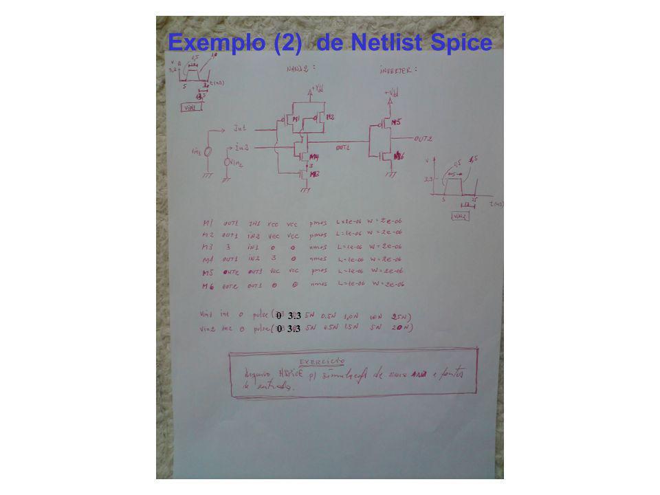 Exemplo (2) de Netlist Spice 0 0 3.3