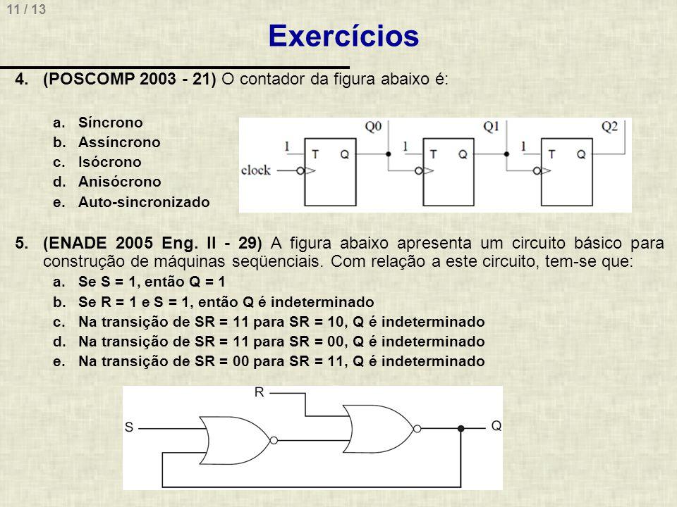 11 / 13 Exercícios 4.(POSCOMP 2003 - 21) O contador da figura abaixo é: a.Síncrono b.Assíncrono c.Isócrono d.Anisócrono e.Auto-sincronizado 5.(ENADE 2005 Eng.
