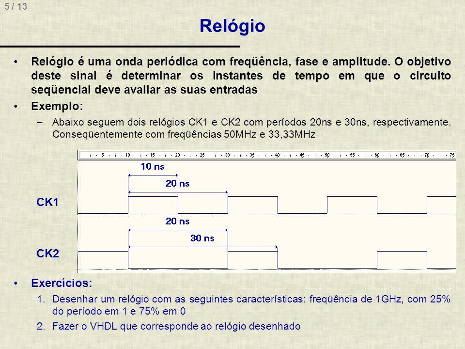 5 / 13 Relógio Exercícios: 1.Desenhar um relógio com as seguintes características: freqüência de 1GHz, com 25% do período em 1 e 75% em 0 2.Fazer o VHDL que corresponde ao relógio desenhado Relógio é uma onda periódica com freqüência, fase e amplitude.