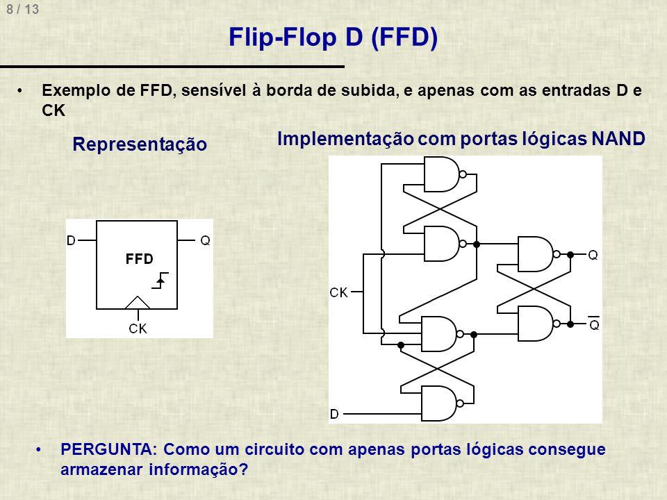 8 / 13 Flip-Flop D (FFD) Exemplo de FFD, sensível à borda de subida, e apenas com as entradas D e CK Representação Implementação com portas lógicas NAND PERGUNTA: Como um circuito com apenas portas lógicas consegue armazenar informação?