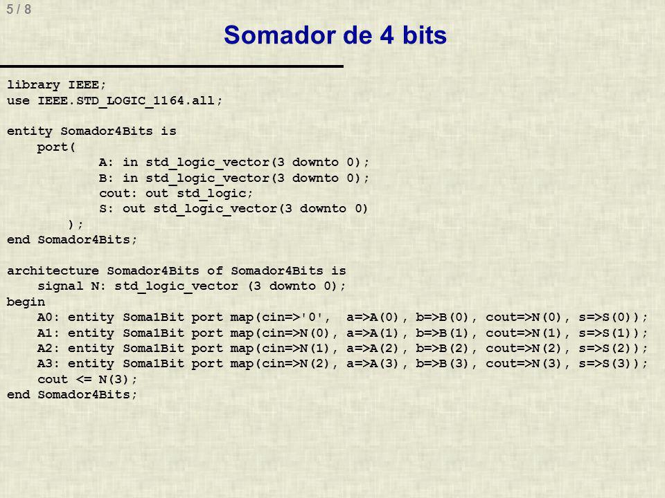 6 / 8 Descrição do TB do somador de 4 bits library IEEE; use IEEE.STD_LOGIC_1164.all; entity TbSomador4Bit is end TbSomador4Bit; architecture TbSomador4Bit of TbSomador4Bit is signal AA, BB, SS: std_logic_vector(3 downto 0); signal cout: std_logic; begin A0:entity Somador4Bits port map(A=>AA,B=>BB,cout=>cout,S=>SS); AA <= x 0 , x A after 20ns, x F after 40ns, x 5 after 60ns; BB <= x 0 , x C after 10ns, x 4 after 30ns, x 6 after 50ns; end TbSomador4Bit;