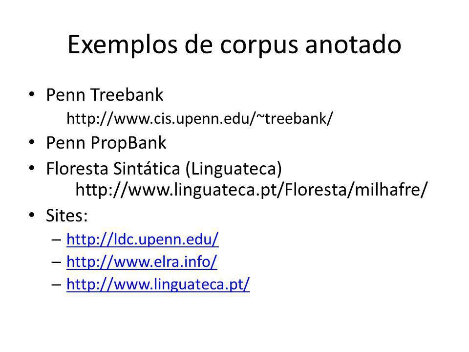 Exemplos de corpus anotado Penn Treebank http://www.cis.upenn.edu/~treebank/ Penn PropBank Floresta Sintática (Linguateca) http://www.linguateca.pt/Fl