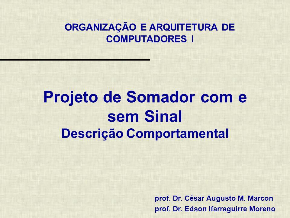 2 / 6 entity Adder is port ( A, B: in std_logic_vector(3 downto 0); cout: out std_logic; S : out std_logic_vector(3 downto 0) ); end Adder; Somador Estrutural de 4 Bits (Entidade) A0A0 B0B0 S0S0 A1A1 B1B1 S1S1 A2A2 B2B2 S2S2 A3A3 B3B3 S3S3 Somador de 4 Bits Cout