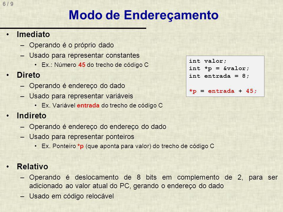 6 / 9 Modo de Endereçamento Imediato –Operando é o próprio dado –Usado para representar constantes Ex.: Número 45 do trecho de código C Direto –Operando é endereço do dado –Usado para representar variáveis Ex.