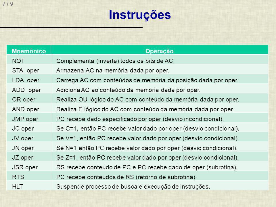 7 / 9 Instruções MnemônicoOperação NOTComplementa (inverte) todos os bits de AC. STA operArmazena AC na memória dada por oper. LDA operCarrega AC com