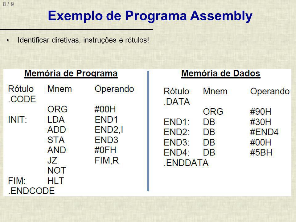 8 / 9 Exemplo de Programa Assembly Identificar diretivas, instruções e rótulos!