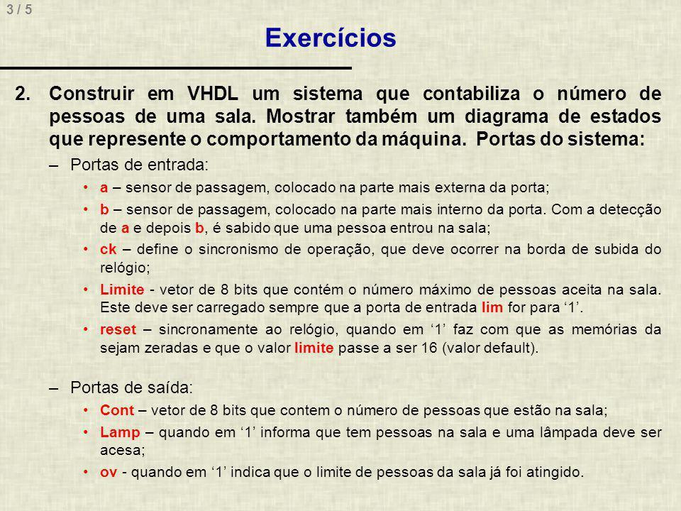 3 / 5 Exercícios 2.Construir em VHDL um sistema que contabiliza o número de pessoas de uma sala. Mostrar também um diagrama de estados que represente