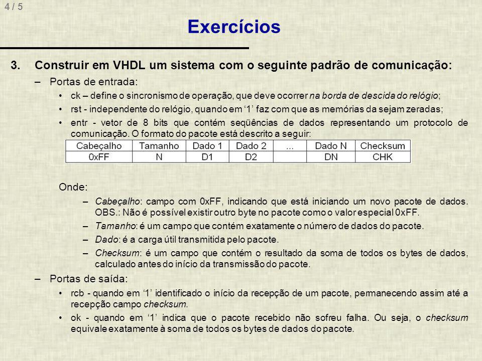 4 / 5 Exercícios 3.Construir em VHDL um sistema com o seguinte padrão de comunicação: –Portas de entrada: ck – define o sincronismo de operação, que d