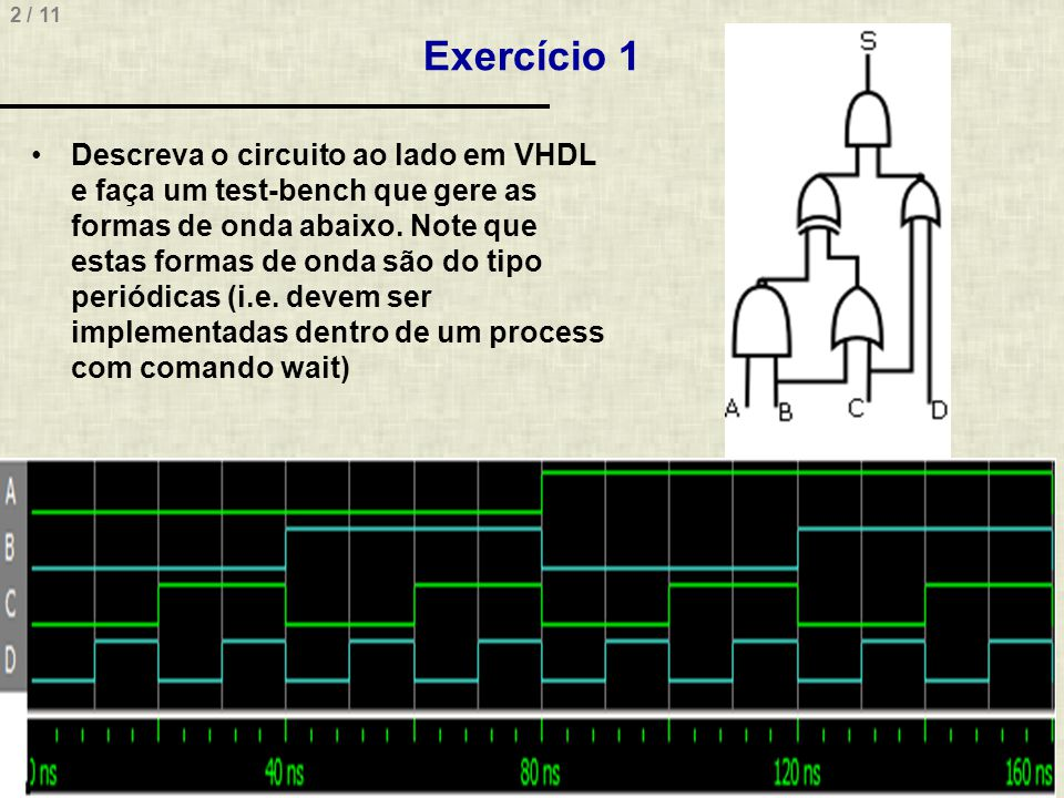 3 / 11 Solução do Exercício 1 Circuito library IEEE; use IEEE.std_logic_1164.all; entity exer1 is port ( A, B, C, D: in std_logic; S: out std_logic ); end exer1; architecture exer1 of exer1 is signal s1, s2, s3, s4: std_logic; begin s1 <= A and B; s2 <= B or C; s3 <= C or D; s4 <= s1 xor s2; S <= s4 and s3; end exer1;