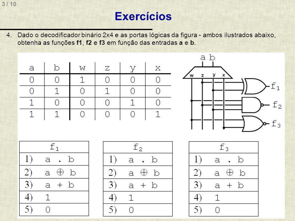 3 / 10 Exercícios 4.Dado o decodificador binário 2x4 e as portas lógicas da figura - ambos ilustrados abaixo, obtenha as funções f1, f2 e f3 em função das entradas a e b.
