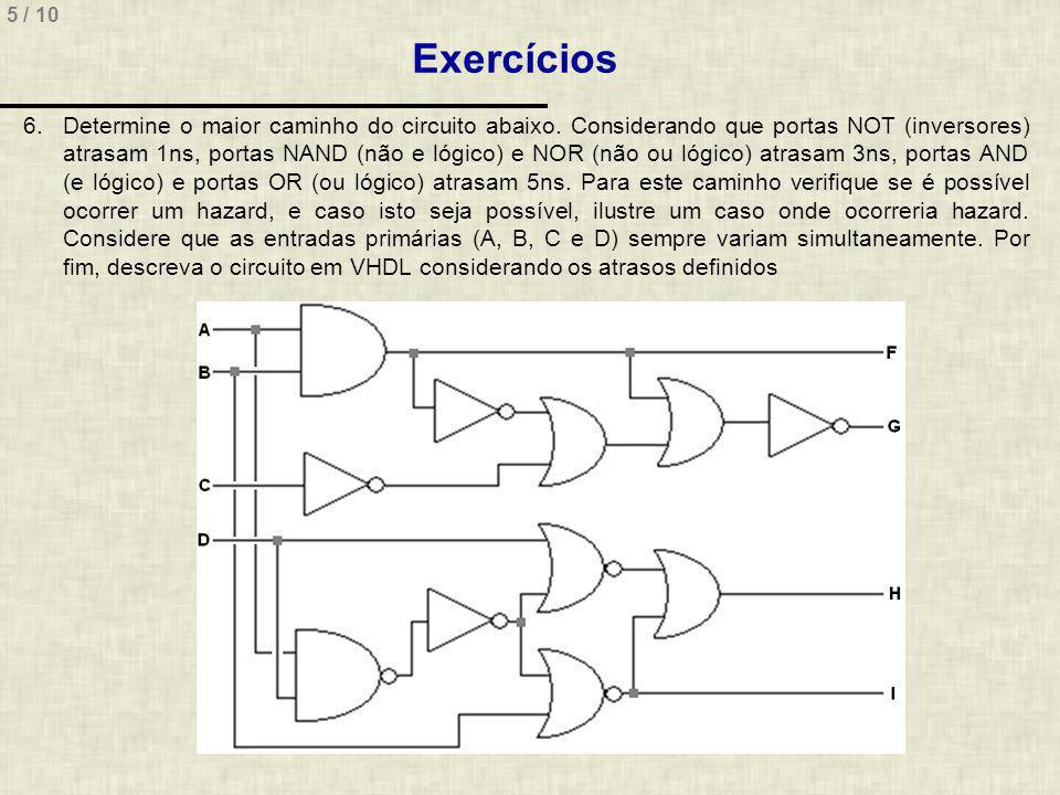 5 / 10 Exercícios 6.Determine o maior caminho do circuito abaixo.