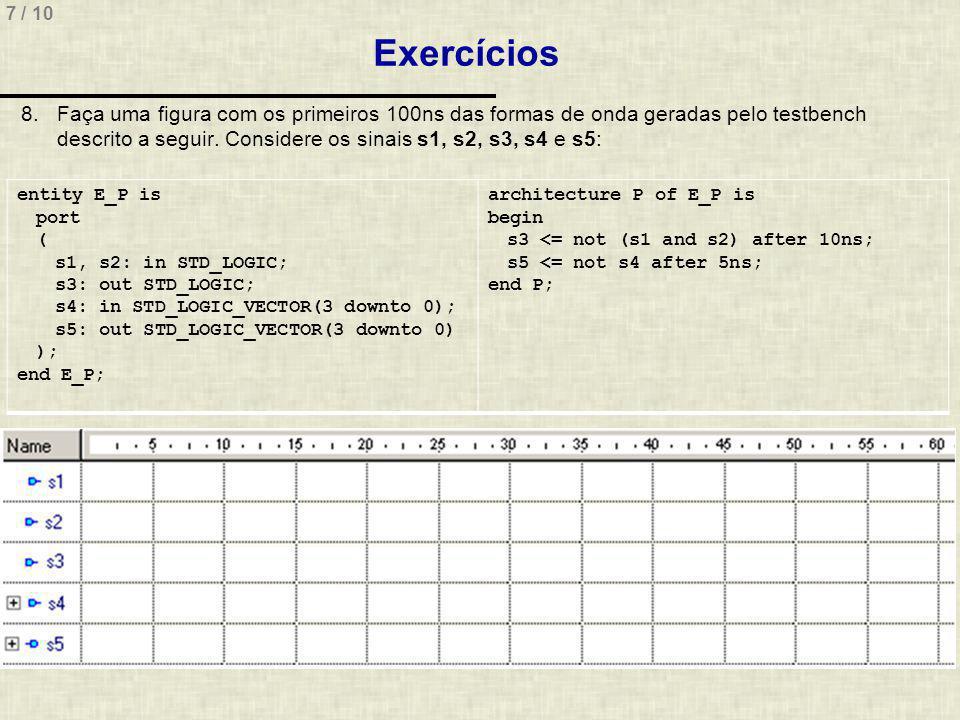 7 / 10 Exercícios 8.Faça uma figura com os primeiros 100ns das formas de onda geradas pelo testbench descrito a seguir.