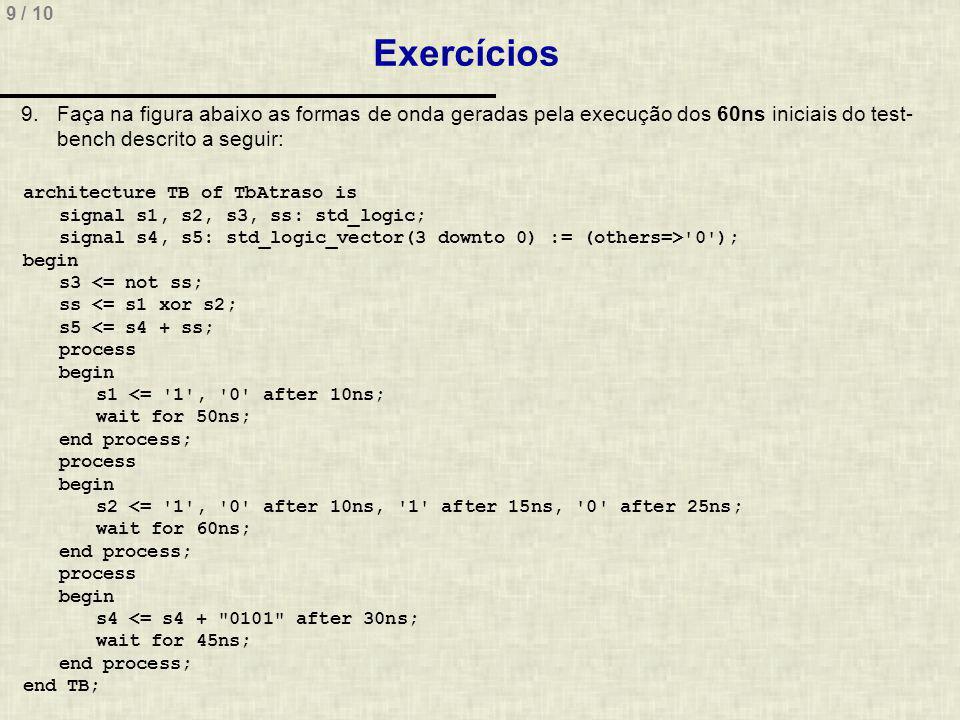 9 / 10 Exercícios 9.Faça na figura abaixo as formas de onda geradas pela execução dos 60ns iniciais do test- bench descrito a seguir: architecture TB of TbAtraso is signal s1, s2, s3, ss: std_logic; signal s4, s5: std_logic_vector(3 downto 0) := (others=> 0 ); begin s3 <= not ss; ss <= s1 xor s2; s5 <= s4 + ss; process begin s1 <= 1 , 0 after 10ns; wait for 50ns; end process; process begin s2 <= 1 , 0 after 10ns, 1 after 15ns, 0 after 25ns; wait for 60ns; end process; process begin s4 <= s4 + 0101 after 30ns; wait for 45ns; end process; end TB;