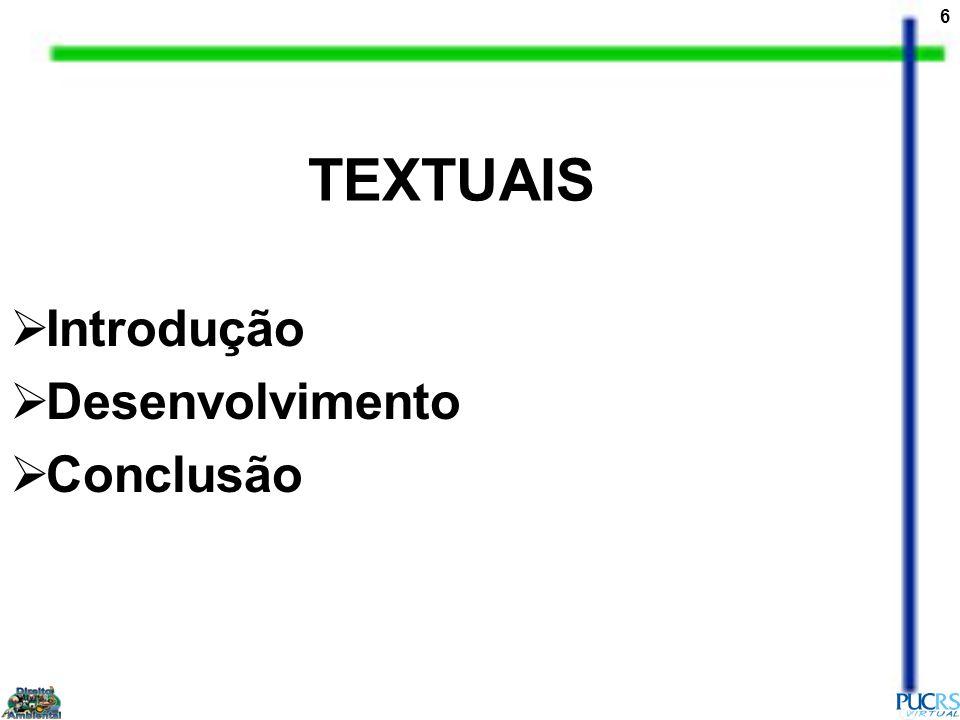 6 TEXTUAIS Introdução Desenvolvimento Conclusão