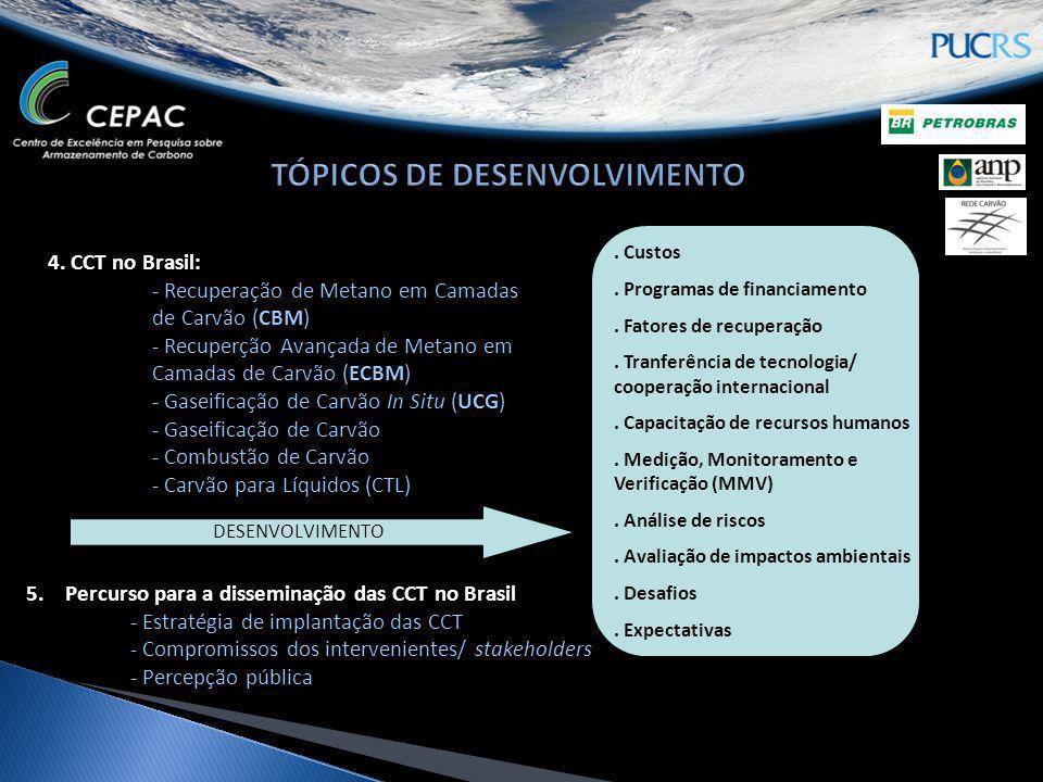 4. CCT no Brasil: - Recuperação de Metano em Camadas de Carvão (CBM) - Recuperção Avançada de Metano em Camadas de Carvão (ECBM) - Gaseificação de Car