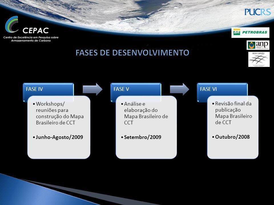 FASE IV Workshops/ reuniões para construção do Mapa Brasileiro de CCT Junho-Agosto/2009 FASE V Análise e elaboração do Mapa Brasileiro de CCT Setembro