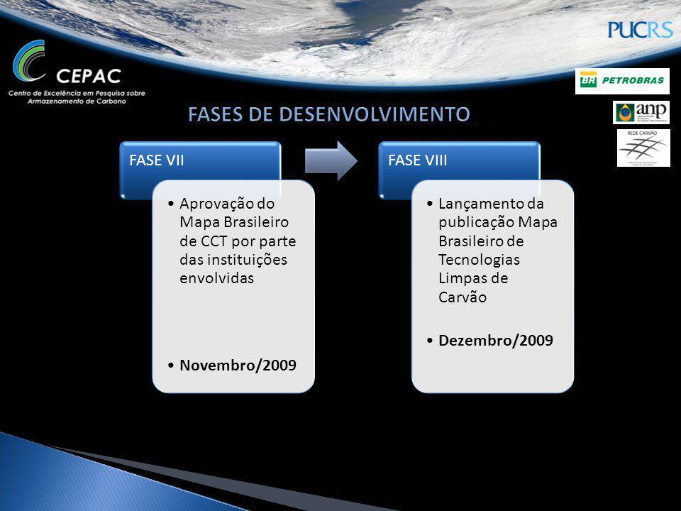 FASE VII Aprovação do Mapa Brasileiro de CCT por parte das instituições envolvidas Novembro/2009 FASE VIII Lançamento da publicação Mapa Brasileiro de